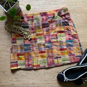 J.Crew Cotton Madras Two Pocket  Mini Skirt